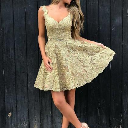 Stylish A-Line V-Neck Gold Lace Sho..