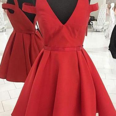 Custom Made Red Cold-Shoulder A-Lin..