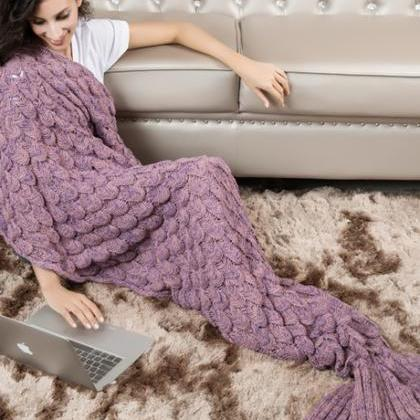 Knitted Blush Mermaid Tail Blanket ..
