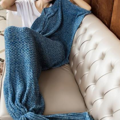 Blue Hand Knitted Mermaid Tail Blan..