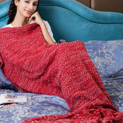 Red Mermaid Blanket Crochet Mermaid..