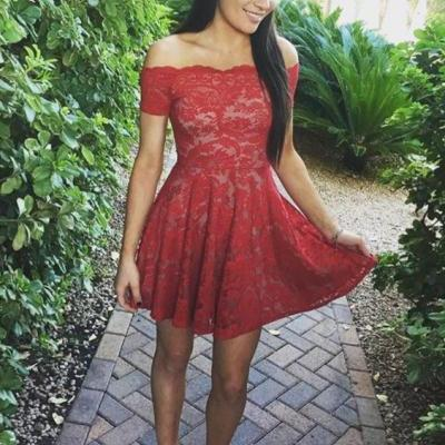 Stylish A-Line Off-Shoulder Red Lace Short Homecoming Dress