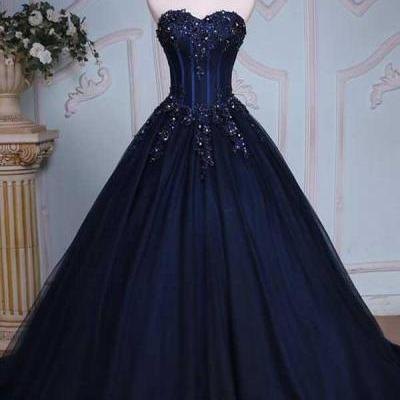 Princess A-Line Sweetheart Navy Blue Ball Gown Court Train Navy Blue Long Prom Dress with Lace Up