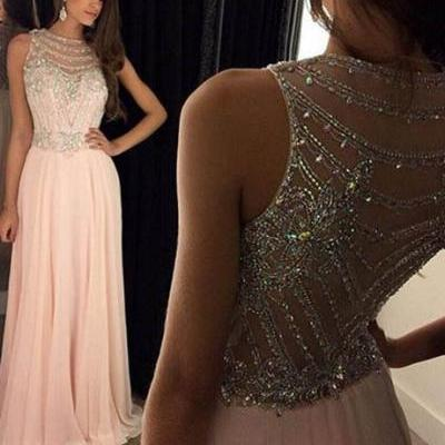 Glamorous A-line Scoop Floor-Length Pink Chiffon Beaded Prom Dress