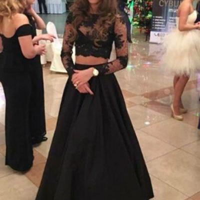 Two Piece A-line Floor-Length Lace Long Sleeves Black Prom Dress