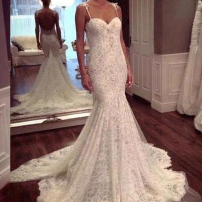 Mermaid Sweetheart Lace Appliques Lace Watteau Train Sexy Wedding Dresses