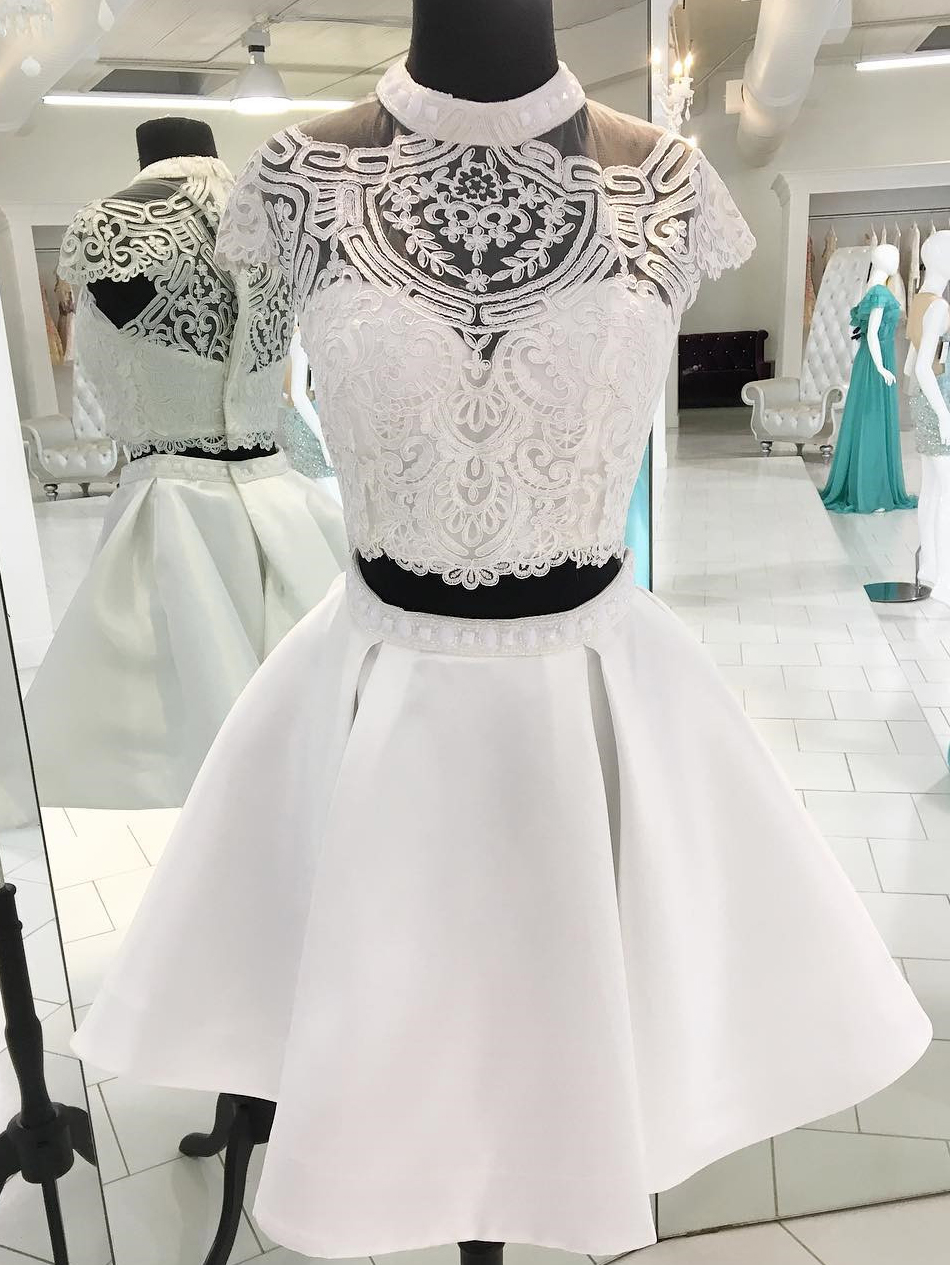 Two-Piece A-Line High Neck Short White Homecoming Dress with Pockets