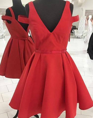 Custom Made Red Cold-Shoulder A-Line Satin Short Evening Dress, Homecoming Dress, Cocktail Dresses, Graduation Dresses