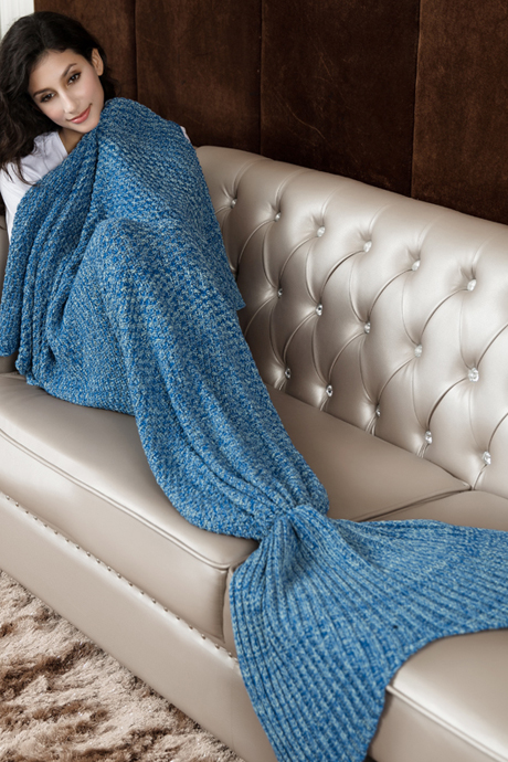 Blue Hand Knitted Mermaid Tail Blanket Sofa Blanket Mermaid Blanket