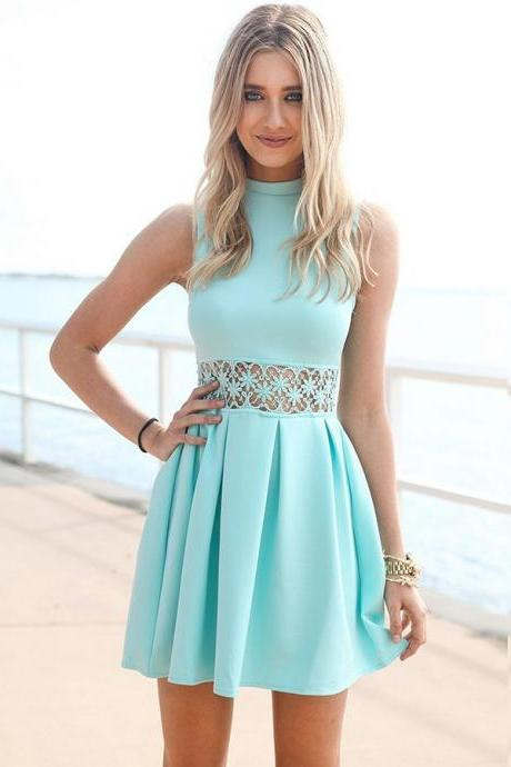 A-Line High Neck Sleeveless Short Homecoming Dress With Pleats