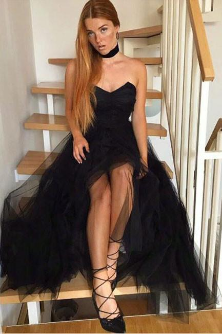 Simple A-Line Sweetheart Black Tulle Prom/Homecoming Dress