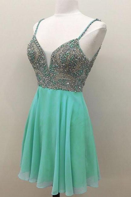 High Fashion A-Line Spaghetti Straps Green Short Homecoming/Cocktail Dress with Beading