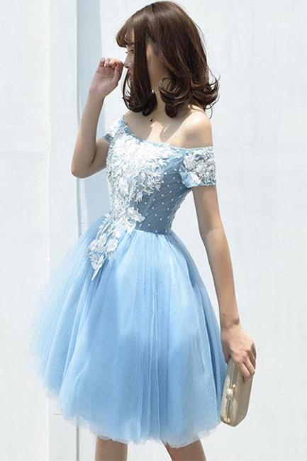 Cute A-Line Off-Shoulder Tulle Blue Lace Short Homecoming Dress