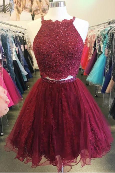 Stylish A-Line Two-Piece Halter Burgundy Short Homecoming Dress with Beading