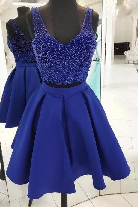Luxurious A-Line Two-Piece V-Neck Royal Blue Satin Short Homecoming Dress with Beading