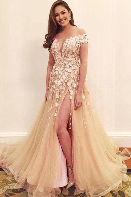Stylish A-Line Round Neck Split Front Champagne Tulle Long Prom/Evening Dress with Appliques