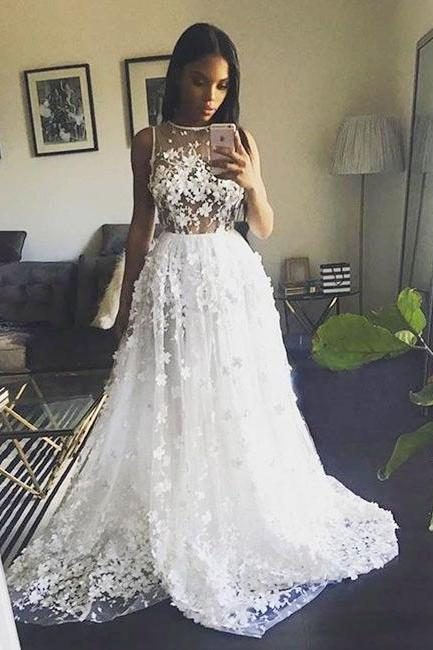 Gorgeous A-Line Round Neck White Tulle Long Prom/Evening Dress with Appliques