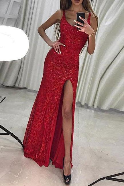 Sexy Mermaid V-Neck Red Lace Long Prom/Evening Dress with Sequined