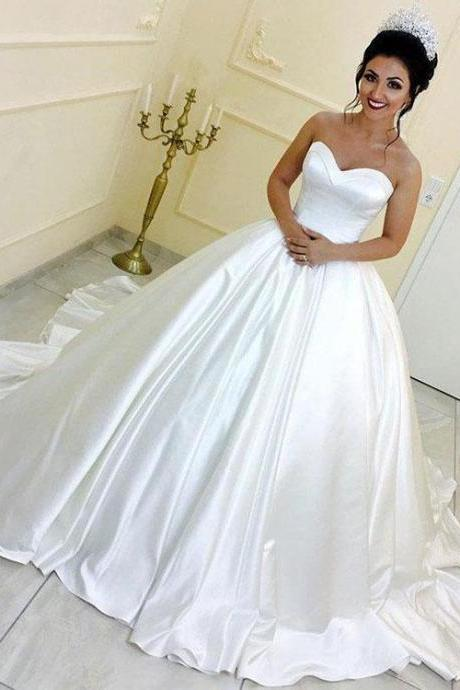 Princess A-Line Sweetheart White Satin Ball Gown Satin Long Prom/Evening Dress