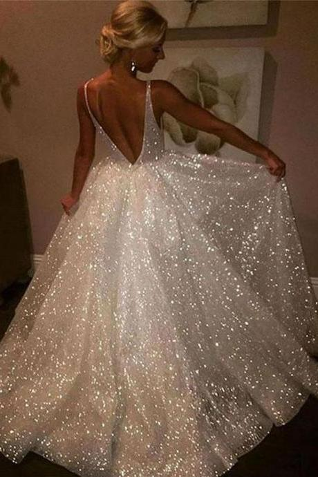 Sparkly A-Line V-Neck White Sequined Long Prom/Evening Dress with Open Back