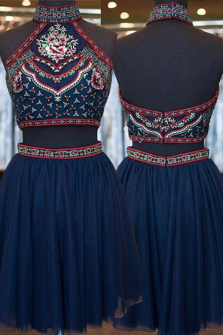 Boho Chic Two-piece High Neck Short Navy Blue Tulle Homecoming Dress with Embroidery