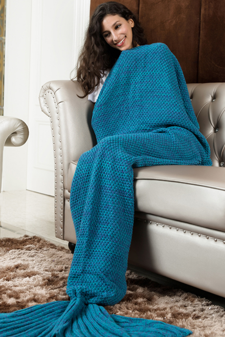 Super Soft Crochet Turquoise Mermaid Tail Sofa Blanket Mermaid Blanket