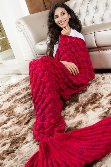 Knitted Red Mermaid Tail Blanket Crochet Mermaid Tail Mermaid Blanket