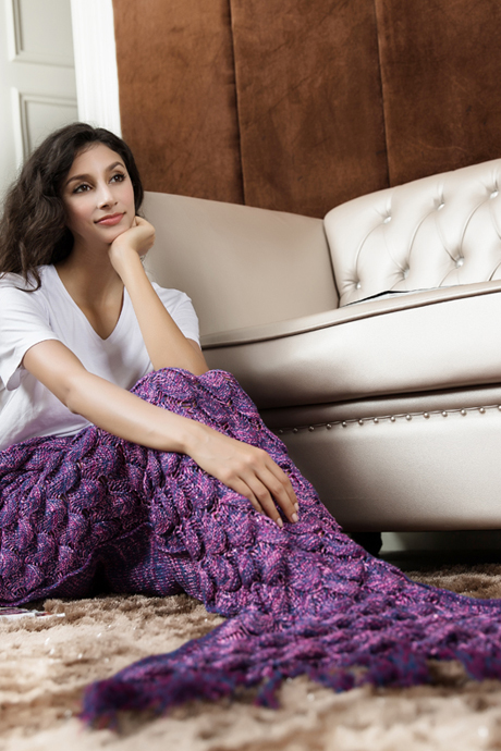 Tassel Mermaid Blanket Crochet Purple Mermaid Tail Sofa Mermaid Blanket