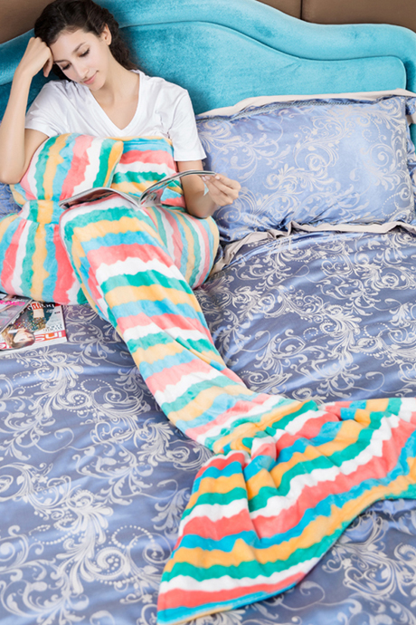 Stripe Multi Color Flannel Blanket Mermaid Tail Sofa Blanket Blanket with Pillow