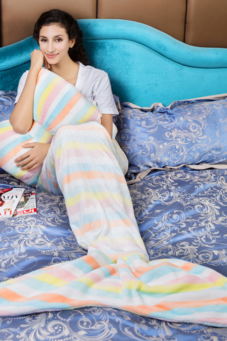Stripe Flannel Blanket Mermaid Tail Multi Color Sofa Blanket Blanket with Pillow