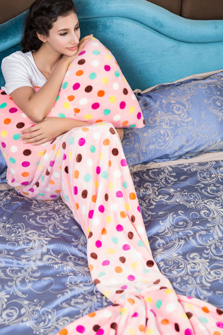 Pink Polka Dot Flannel Blanket Mermaid Tail Blanket with Pillow