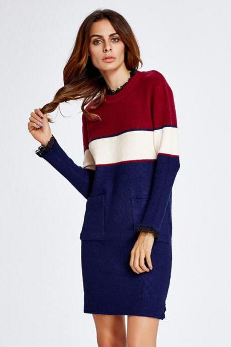Mid-Length Blue Color Block Slim Fit Sweater Dress