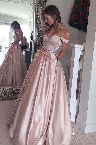 Hot-Selling Off Shoulder Ball Gown Pearl Pink Long Prom/Evening Dress
