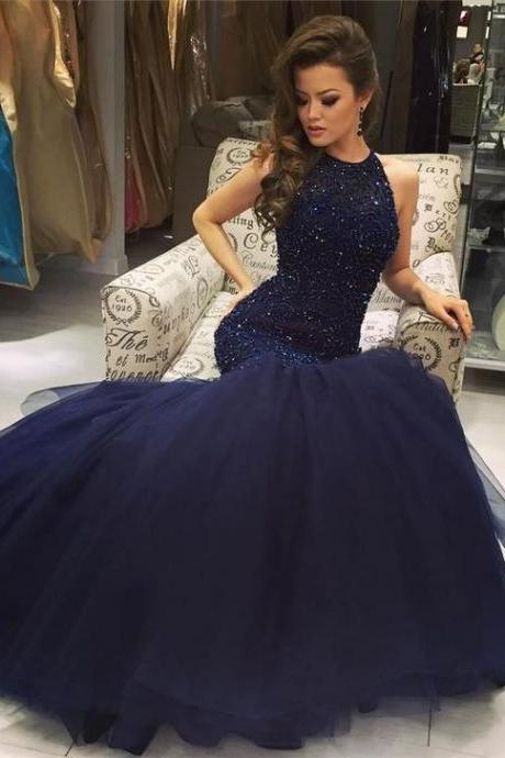 High Fashion Mermaid Navy Scoop Sleeveless Prom Dress with Beading