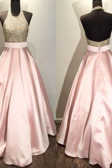 Hot-Selling A-Line O Neck Pink Sequined Long Prom/Evening Dress with Backless