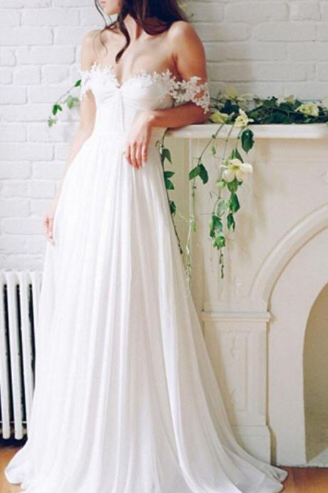 Beautiful A-Line Off-Shoulder White Long Wedding Dress with Lace