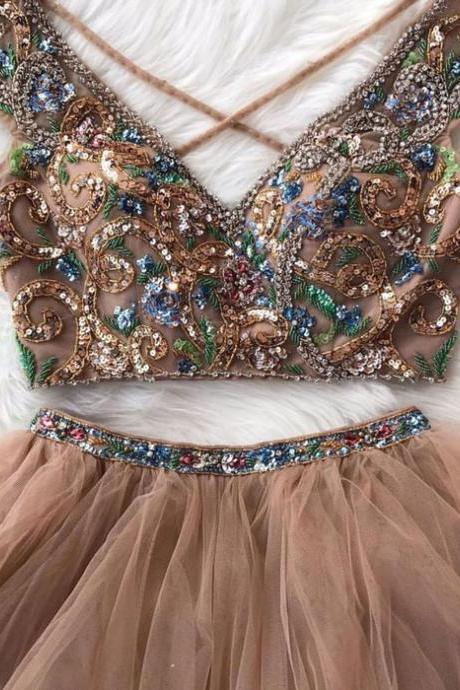 Cute A-Line Two-Piece Round Neck Tulle Sequined Long Prom Dress