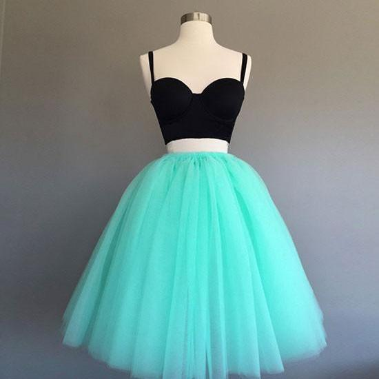 Cute A-Line Two-Piece Mint Green Tulle Short Homecoming Dress