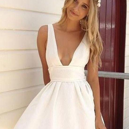 Summer A-Line Deep V-Neck White Satin Short Homecoming/Graduation Dress