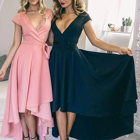 Sexy V-Neck Cap Sleeves High Low Homecoming/Prom Dress