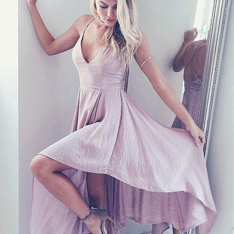 Simple A-Line V-Neck Pink Long Homecoming Dress Dancing Dress
