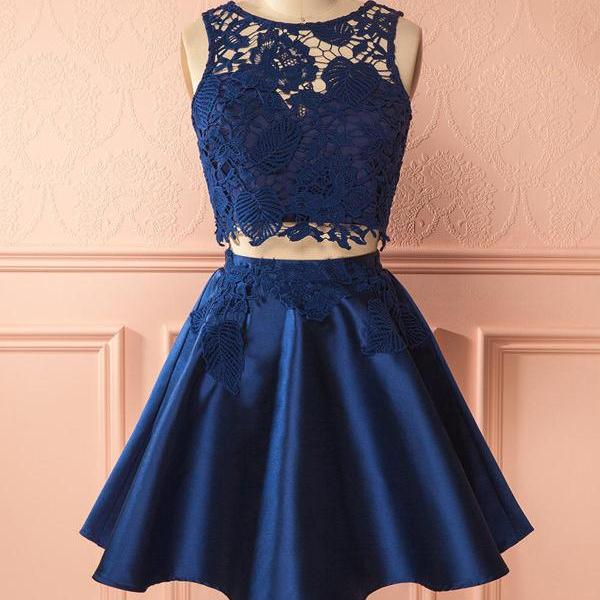 Cute Two-Piece Round Neck Navy Blue Short Homecoming Party Dress with Lace
