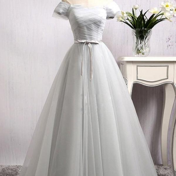 Elegant A-Line Off Shoulder Gray Tulle Long Prom/Evening Dress with Bowknot