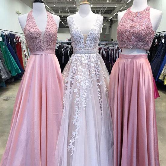 A-Line Tulle Lace Long Prom Dresses/Long Evening Dresses with Appliques