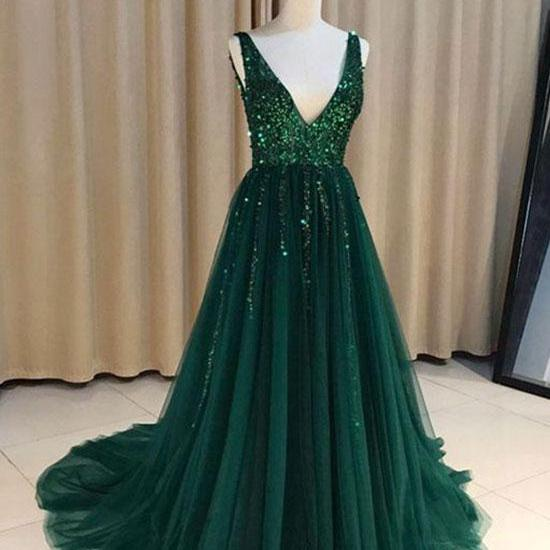Stylish A-Line V-Neck Green Tulle Long Prom/Evening Dresses with Sequins