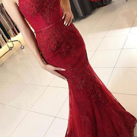 Burgundy Mermaid Spaghetti Straps Tulle Lace Floor Length Prom/Evening Dress