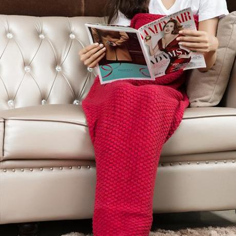 Red Hand Knitted Mermaid Tail Blanket Sofa Blanket Mermaid Blanket