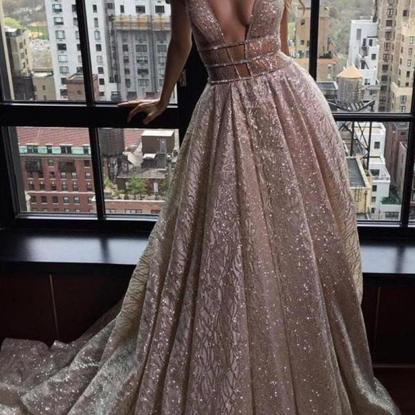 Sexy Deep V-neck Sleeveless Court Train Prom Dress Backless with Sequins